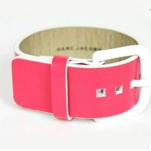 Marc Jacobs Leather Cuff Belt Bracelet Pink White